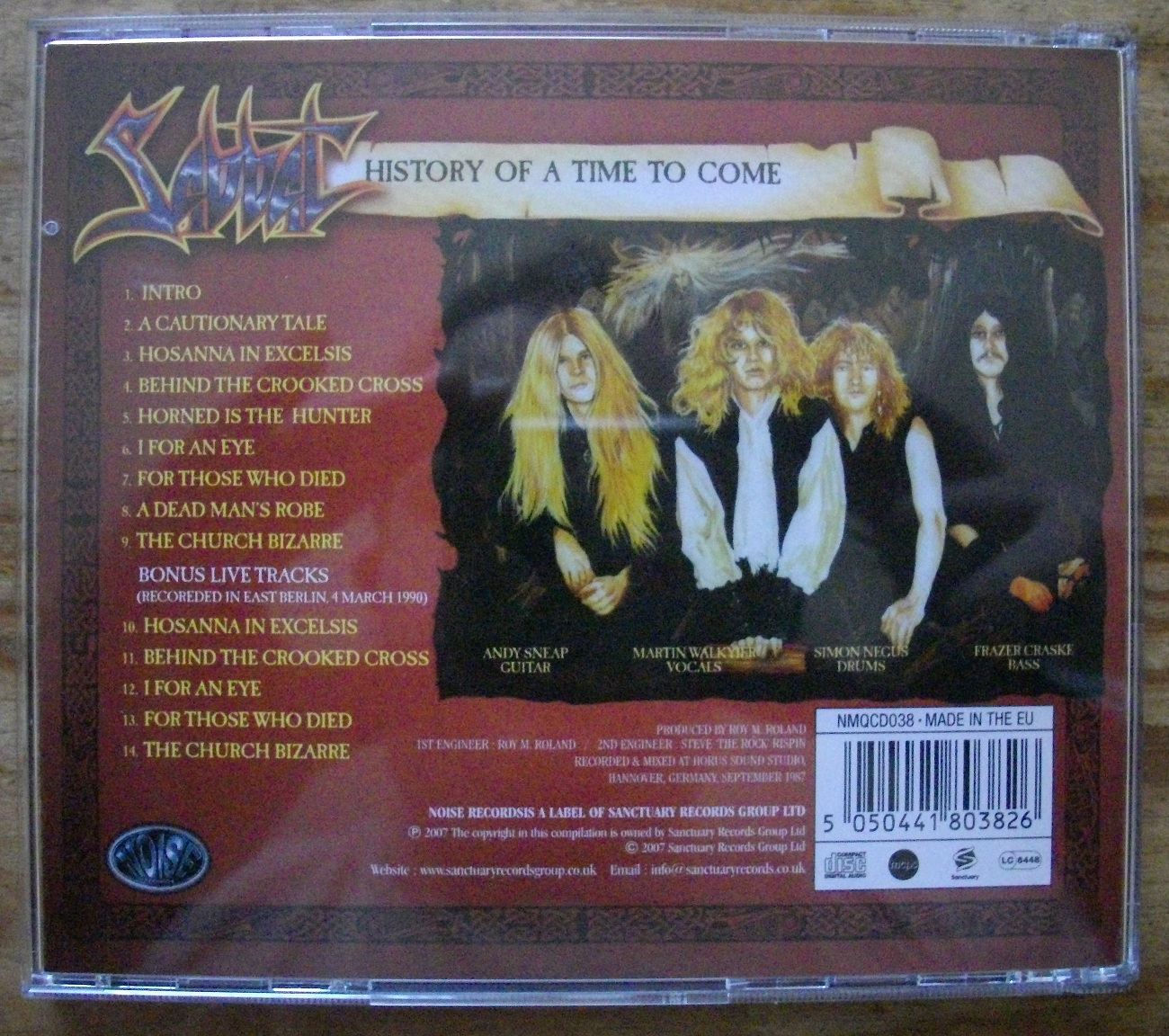 Sabbat History of a Time to Come CD Rear Cover